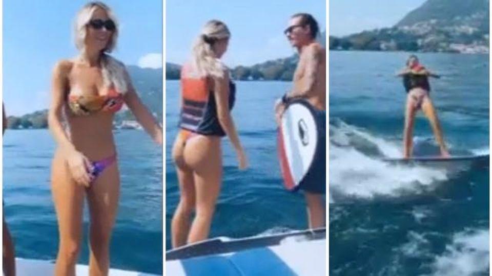 Diletta Leotta ci prova con il wakeboard, ma lo sport acquatico non sembra il suo forte