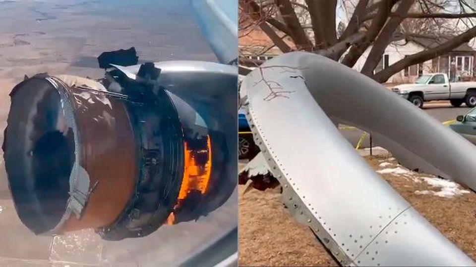 Paura a Denver, aereo passeggeri perde un motore in fiamme, una parte cade nel giardino di una casa