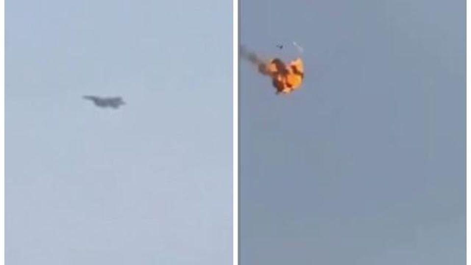 Yemen, il drammatico momento in cui il caccia F-15 saudita fa esplodere in aria un 'drone suicida ' dei ribelli Houthi