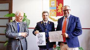 """Il Maresciallo Rocca e altri investigatori a """"Legro dipinto"""": l'opera di Raffaele Iacaruso nella frazione di Orta San Giulio"""
